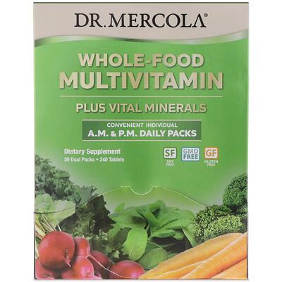 Dr. Mercola Цельнопищевые мультивитамины в пакетиках для ежедневного приема утром и вечером, 30двойных пакетиков
