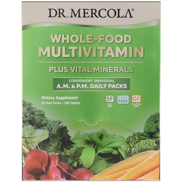 Dr. Mercola, Whole-Food Multivitamin A.M. & P.M. Daily Packs, 30 Dual Packs