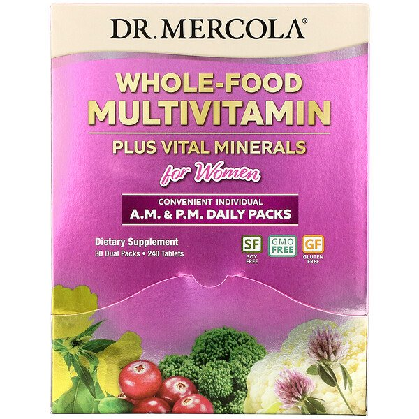 Whole-Food Multivitamin Plus Vital Minerals for Women, A.M. & P.M. Daily Packs, 30 Dual Packs