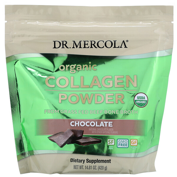Dr. Mercola, Organic Collagen Powder From Grass Fed Beef Bone Broth, Chocolate, 14.81 oz (420 g)
