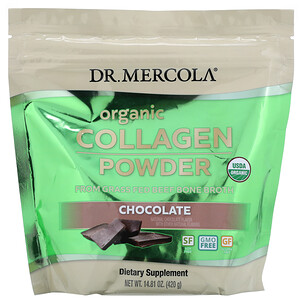 Dr. Mercola, Organic Collagen Powder From Grass Fed Beef Bone Broth, Chocolate, 14.81 oz (420 g)