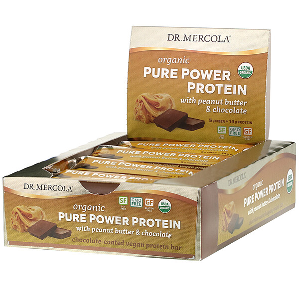 Dr. Mercola, Organic Pure Power Protein Bar, Peanut Butter & Chocolate, 12 Bars, 1.83 oz (52 g) Each