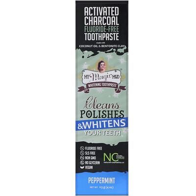 Фото - Отбеливающая зубная паста с активированным углем, без фтора, перечная мята, 113г (4унции) аюрведическая зубная паста на травах классическая 117г 4 16унции