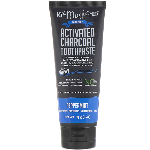 Activated Charcoal, Fluoride-Free, Whitening Toothpaste, Peppermint, 4 oz (113 g)