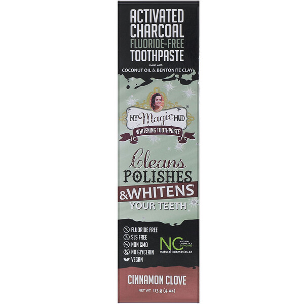 Activated Charcoal, Fluoride-Free, Whitening Toothpaste, Cinnamon Clove, 4 oz (113 g)