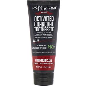 Май Мэджик Мад, Activated Charcoal, Fluoride-Free, Whitening Toothpaste, Cinnamon Clove, 4 oz (113 g) отзывы покупателей