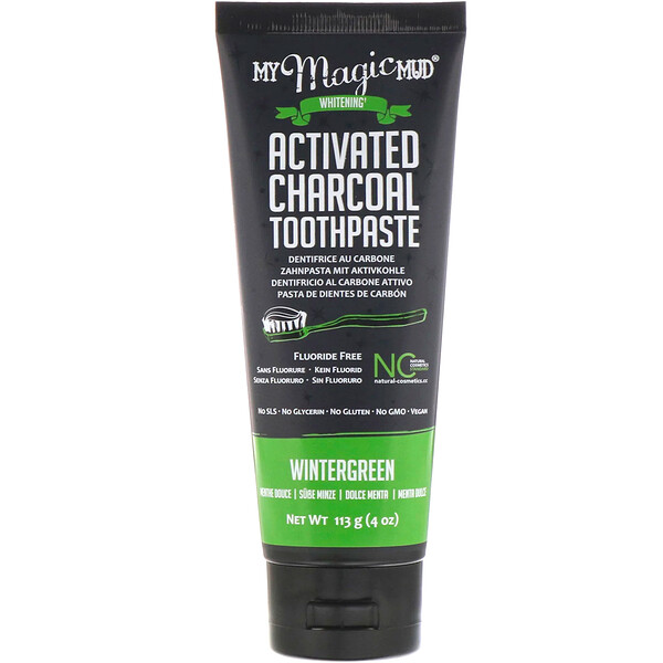 Activated Charcoal, Fluoride-Free, Whitening Toothpaste, Wintergreen, 4 oz (113 g)