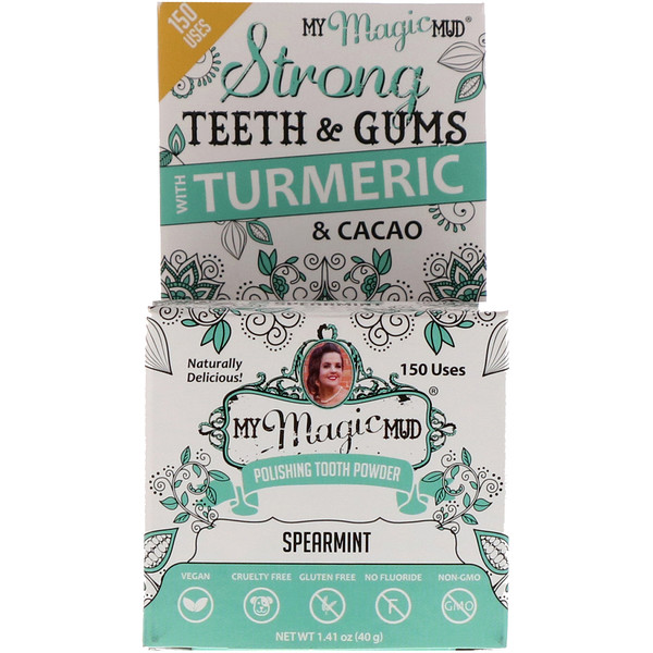 My Magic Mud, Polishing Tooth Powder with Turmeric & Cacao, Spearmint, 1.41 oz (40 g) (Discontinued Item)