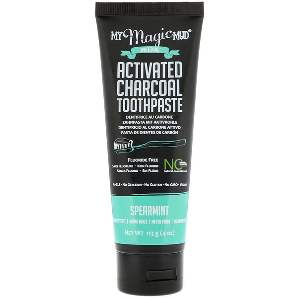Activated Charcoal, Fluoride-Free, Whitening Toothpaste, Spearmint, 4 oz (113 g)