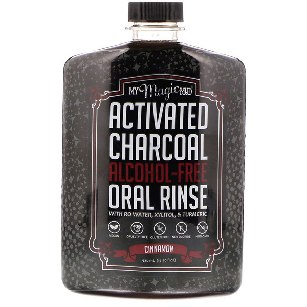 Activated Charcoal, Alcohol-Free Oral Rinse, Cinnamon, 14.20 fl oz (420 ml)