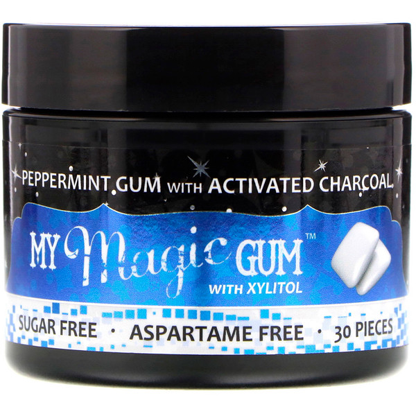 My Magic Mud, My Magic Gum with Xylitol and Activated Charcoal, Peppermint, 30 Pieces