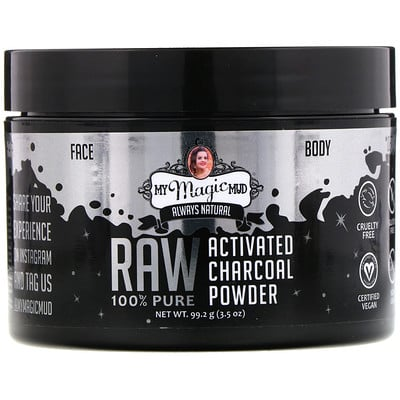 Купить My Magic Mud Raw 100% Pure, Activated Charcoal Powder, 3.5 oz (99.2 g)
