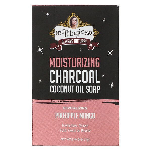 Moisturizing Charcoal, Coconut Oil Soap, Revitalizing Pineapple Mango,  5 oz (141.7 g)
