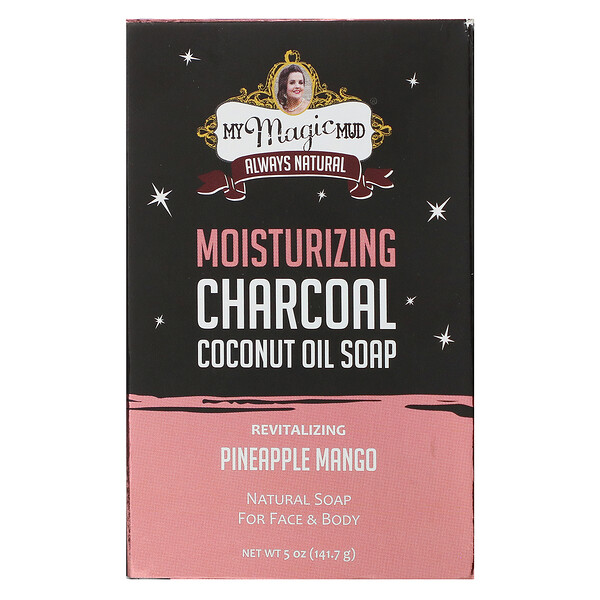 My Magic Mud, Moisturizing Charcoal, Coconut Oil Soap, Revitalizing Pineapple Mango,  5 oz (141.7 g)