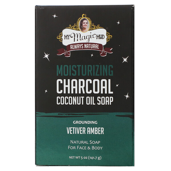Charcoal, Coconut Oil Soap, Grounding Vetiver Amber, 5 oz (141.7 g)