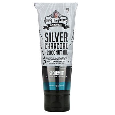Купить My Magic Mud Silver Charcoal + Coconut Oil, Teeth Whitening, Fluoride-Free Toothpaste, Spearmint, 4 oz (113 g)