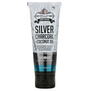 My Magic Mud, Silver Charcoal + Coconut Oil, Teeth Whitening, Fluoride-Free Toothpaste, Spearmint, 4 oz (113 g)