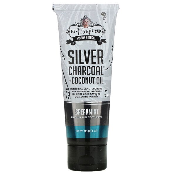 Silver Charcoal + Coconut Oil, Teeth Whitening, Fluoride-Free Toothpaste, Spearmint, 4 oz (113 g)