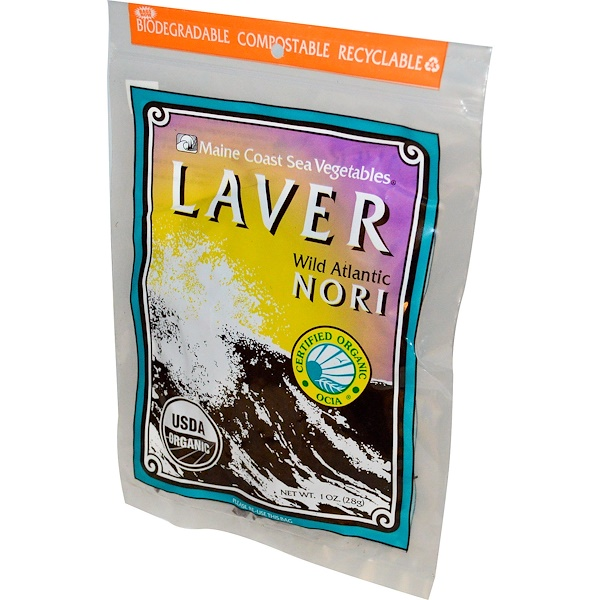 Maine Coast Sea Vegetables, Organic Laver, Wild Atlantic Nori, 1 oz (28 g)