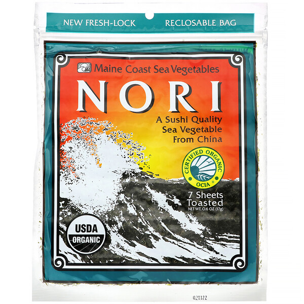 Maine Coast Sea Vegetables, Nori, 7 hojas, 17 g (6 oz)