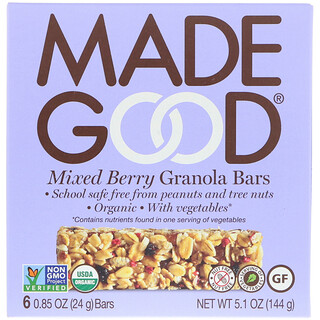 MadeGood, Granola Bars, Mixed Berry, 6 Bars, 0.85 oz (24 g) Each