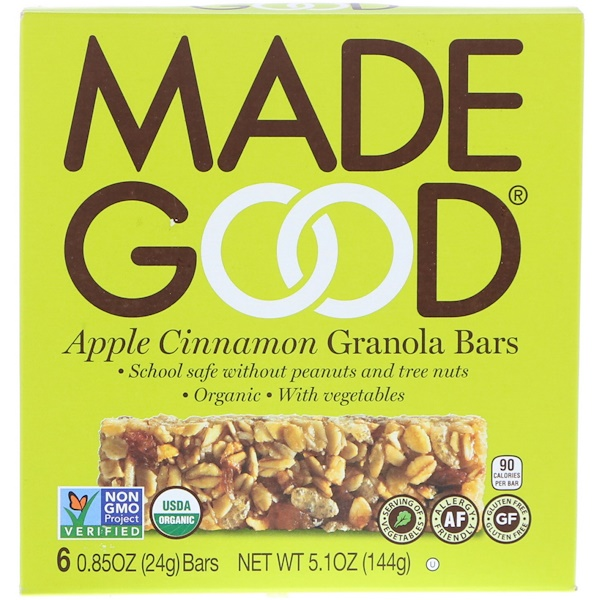MadeGood, Organic, Granola Bars, Apple Cinnamon, 6 Bars, 0.85 oz (24 g) Each (Discontinued Item)