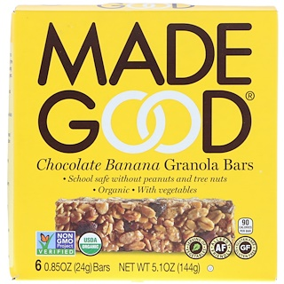 MadeGood, Organic, Granola Bars, Chocolate Banana, 6 Bars, 0.85 oz (24 g) Each