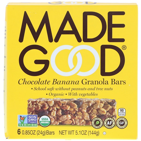 MadeGood, Organic, Granola Bars, Chocolate Banana, 6 Bars, 0.85 oz (24 g) Each (Discontinued Item)