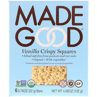 MadeGood, オーガニック、クリスピースクエア、バニラ、6本、22g(0.78 oz)