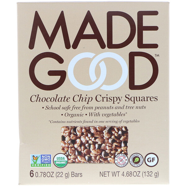 MadeGood, Crispy Squares, Chocolate Chip, 6 Bars, 0.78 oz (22 g) Each (Discontinued Item)