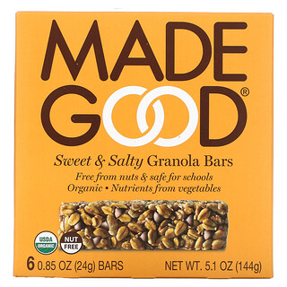MadeGood, Granola Bar, Sweet & Salty, 6 Bars, 0.85 oz (24 g) Each