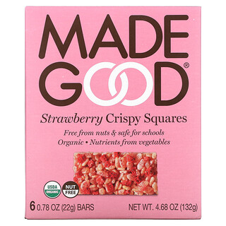 MadeGood, Crispy Squares, Strawberry, 6 Bars, 0.78 oz (22 g) Each
