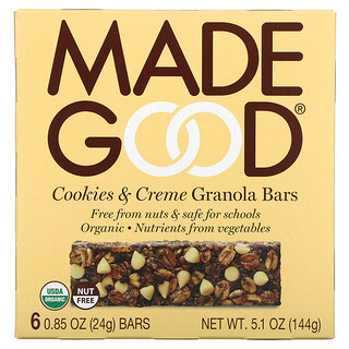 MadeGood, Granola Bar, Cookies & Crème, 6 Bars, 0.85 oz (24 g) Each