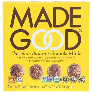 MadeGood, Granola Minis, Chocolate Banana, 4 Pouches, 0.85 oz (24 g) Each