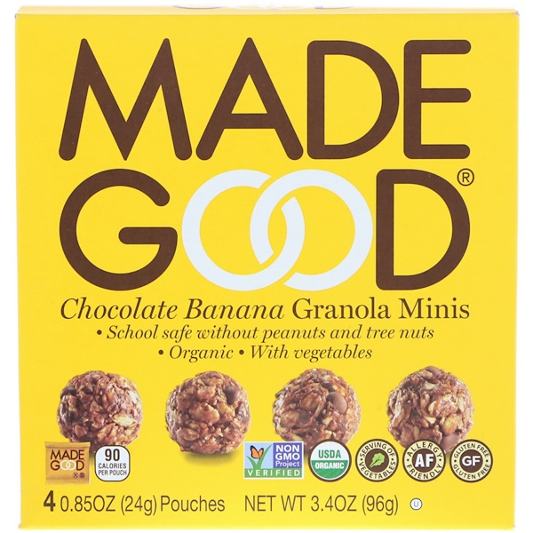 MadeGood, Granola Minis, Chocolate Banana, 4 Pouches, 0.85 oz (24 g) Each (Discontinued Item)