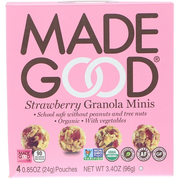 MadeGood, Organic, Granola Minis, Strawberry, 4 Pouches, 0.85 oz (24 g) Each (Discontinued Item)