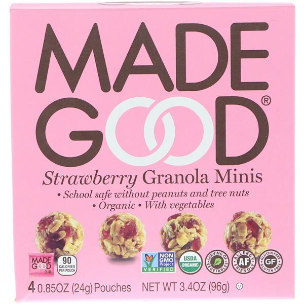 MadeGood, オーガニック、グラノーラミニ、バニラ、4袋、1袋24g(0.85 oz) (Discontinued Item)