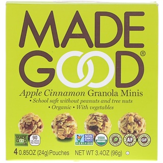 MadeGood, Organic, Granola Minis, Apple Cinnamon, 4 Pouches, 0.85 oz (24 g) Each