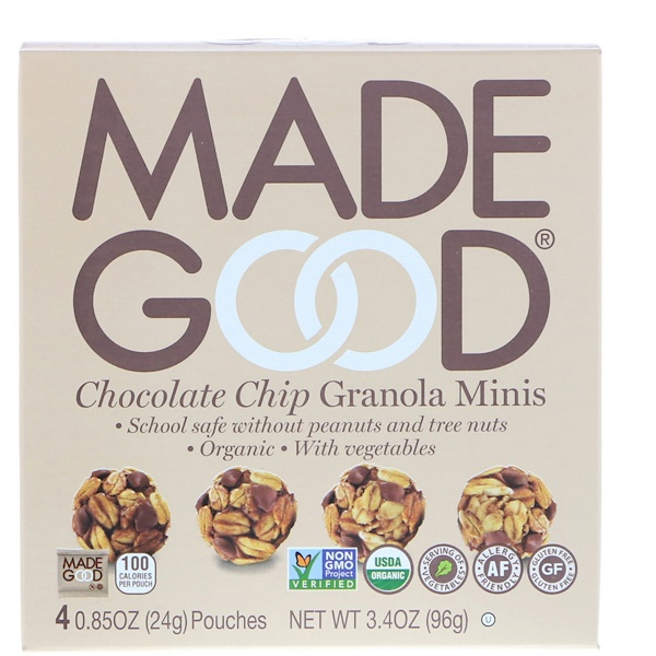 MadeGood, Organic, Granola Minis, Chocolate Chip, 4 Pouches, 0.85 oz (24 g) Each