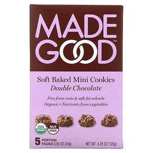 MadeGood, Soft Baked Mini Cookies, Double Chocolate, 5 Portion Packs, 0.85 oz (24 g) Each