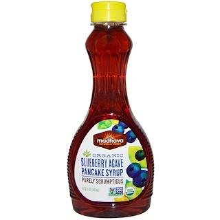 Madhava Natural Sweeteners, Organic Blueberry Agave Pancake Syrup, 11.75 fl oz (347 ml)