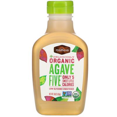 Купить Madhava Natural Sweeteners Organic Agave Five, Low-Glycemic Sweetener, 16 oz (454 g)