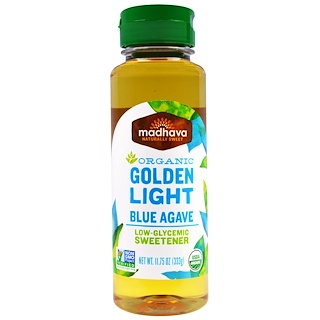Madhava Natural Sweeteners, Organic Golden Light Blue Agave, 11.75 oz (333 g)