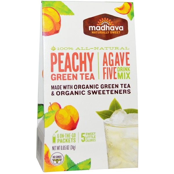 Madhava Natural Sweeteners, Agave Five Drink Mix, Peachy Green Tea, 6 Packets, 0.85 oz (24 g) (Discontinued Item)