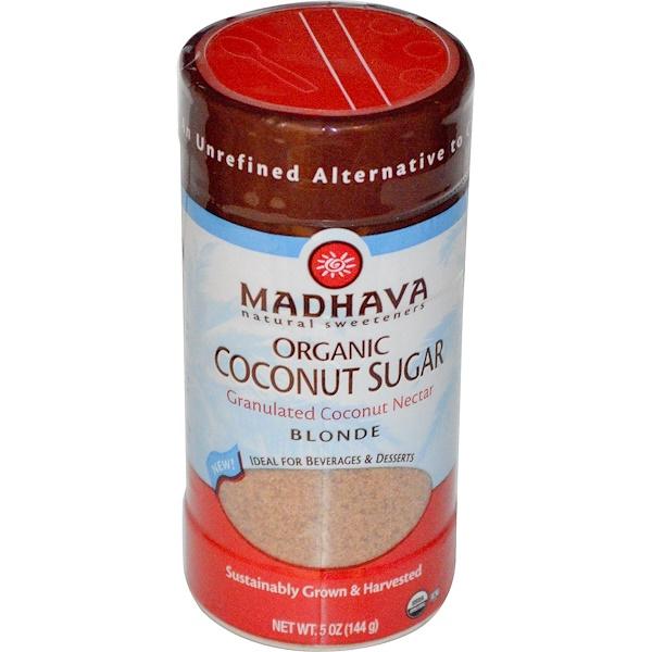 Madhava Natural Sweeteners, Organic Coconut Sugar, Blonde, 5 oz (144 g) (Discontinued Item)