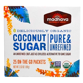 Madhava Natural Sweeteners, Organic Coconut Sugar, 25 Packets, 3.53 oz (100 g)