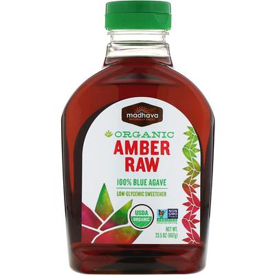 Купить Органический янтарный сироп из сырой голубой агавы, 23, 5 унций (667 г)