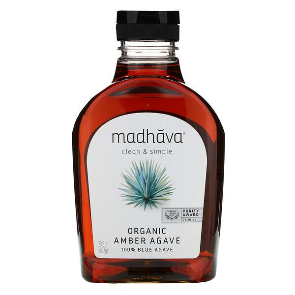 Madhava Natural Sweeteners, Agave azul crudo y ámbar orgánico, 23.5 oz (667 g)