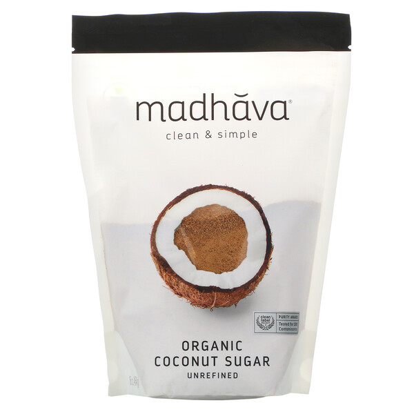 Madhava Natural Sweeteners, Organic Coconut Sugar, Unrefined, 1 lb (454 g)