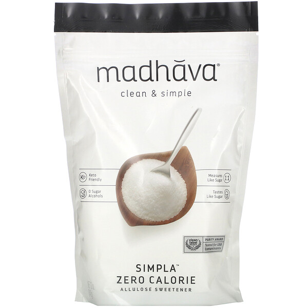 Madhava Natural Sweeteners, Clean & Simple, Simpla Zero Calorie, Allulose Sweetener, 12 oz (340 g)